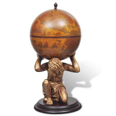 vidaXL földgömb alakú bárszekrény Atlasz szoborral 42 x 42 x 85 cm
