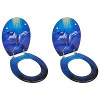 vidaXL 2 db delfinmintás MDF WC ülőke