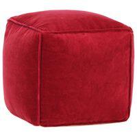 vidaXL rubinvörös pamutbársony puff 40 x 40 x 40 cm