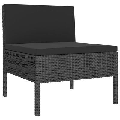 vidaXL 10 részes fekete polyrattan kerti bútorszett párnákkal