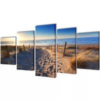 Vászon falikép szett homokos tengerpart 200 x 100 cm