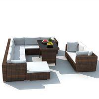 vidaXL 10-részes barna polyrattan kerti bútorszett párnákkal