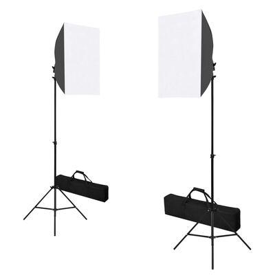 vidaXL fotóstúdió-felszerelés softbox lámpákkal és hátterekkel,