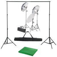 vidaXL fotóstúdió-felszerelés lámpákkal és háttérrel