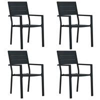 vidaXL 4 darab fekete fautánzatú HDPE kerti szék