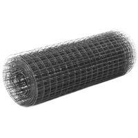 vidaXL szürke PVC-bevonatú acél csirkeháló drótkerítés 25 x 0,5 m