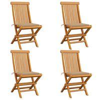 vidaXL 4 db tömör tíkfa kerti szék bézs párnákkal