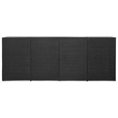 vidaXL fekete polyrattan kukatároló 4 db kerekes kukához 305x78x120 cm