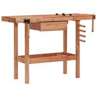 vidaXL keményfa asztalos munkapad fiókkal és 2 satuval