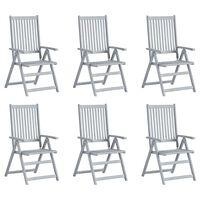 vidaXL 6 db szürke tömör akácfa kerti dönthető szék