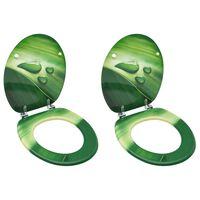 vidaXL 2 db zöld vízcseppmintás MDF WC-ülőke fedéllel