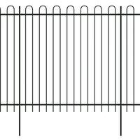 vidaXL fekete biztonsági acélkerítés kengyel alakú véggel 600 x 200 cm