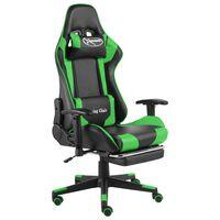vidaXL zöld PVC forgó gamer szék lábtartóval
