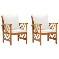 vidaXL 2 db tömör akácfa kerti szék párnákkal