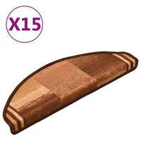 vidaXL 15 db barna öntapadó lépcsőszőnyeg 65 x 21 x 4 cm