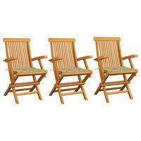 vidaXL 3 db tömör tíkfa kerti szék levélmintás párnával
