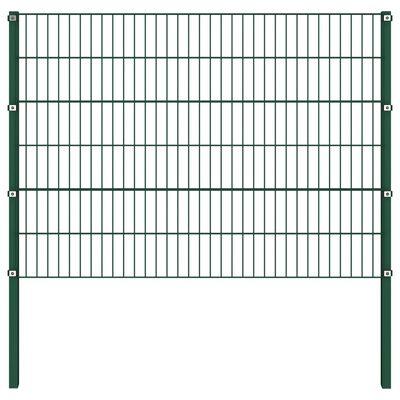 vidaXL zöld vas kerítéspanel oszlopokkal 1,7 x 1,2 m