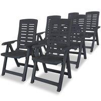 vidaXL 6 db antracitszürke dönthető műanyag kerti szék