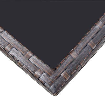vidaXL 11-részes barna kültéri polyrattan étkezőszett párnákkal