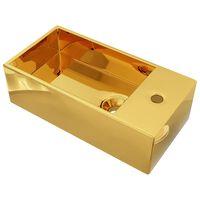 vidaXL aranyszínű kerámia mosdókagyló túlfolyóval 49 x 25 x 15 cm