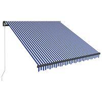 vidaXL kék és fehér kézzel kihúzható LED-es napellenző 350 x 250 cm