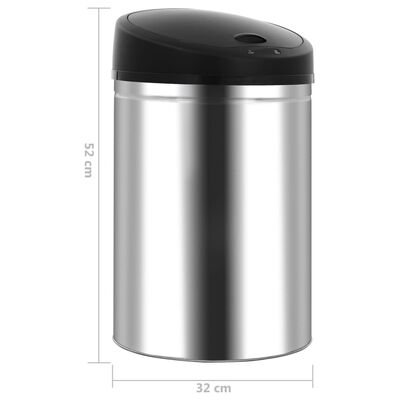 vidaXL automata érzékelős rozsdamentes acél szemeteskuka 32 L