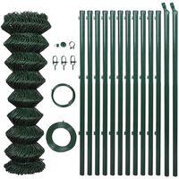 vidaXL zöld acél drótkerítés oszlopokkal 1 x 15 m