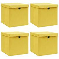 vidaXL 4 db sárga szövet tárolódoboz fedéllel 32 x 32 x 32 cm