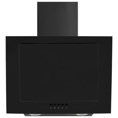 vidaXL fekete rozsdamentes acél és edzett üveg fali páraelszívó 60 cm  , Fekete
