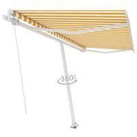 vidaXL sárga és fehér kézzel kihúzható póznás napellenző 400 x 300 cm
