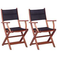 vidaXL 2 darab fekete tömör eukaliptuszfa és textilén kültéri szék