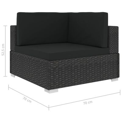 vidaXL 8 részes fekete polyrattan kerti bútorszett párnákkal
