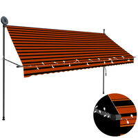 vidaXL narancssárga-barna kézzel kihúzható LED-es napellenző 300 cm