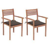 vidaXL 2 db tömör tíkfa kerti szék tópszínű párnákkal