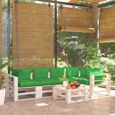 vidaXL 6 részes fenyőfa kerti raklap-bútorgarnitúra párnákkal
