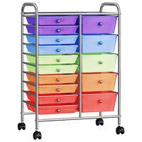 vidaXL XXL 15 fiókos mozgatható többszínű műanyag tárolókocsi