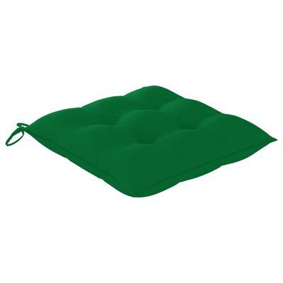 vidaXL 2 db tömör tíkfa kerti szék zöld párnával