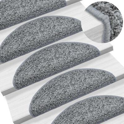 vidaXL 15 darab szürke lépcsőszőnyeg 65 x 25 cm