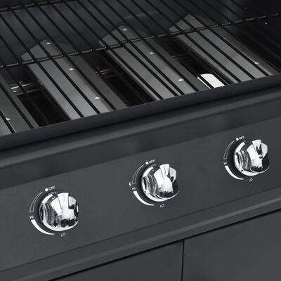 vidaXL fekete gázgrillsütő 4+1 főzőfelülettel