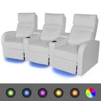 vidaXL LED 3 személyes műbőr dönthető támlájú fotel fehér