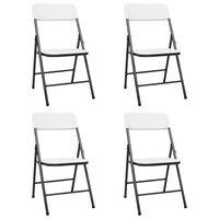 vidaXL 4 db fehér HDPE összecsukható kerti szék