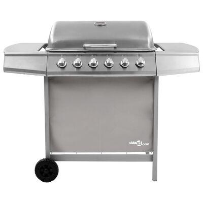 vidaXL ezüst gáz grillsütő 6 égővel