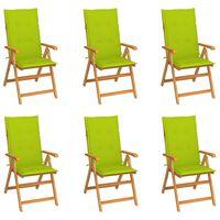 vidaXL 6 db tömör tíkfa kerti szék élénkzöld párnákkal