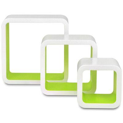 3 db függő szögletes MDF polc / köny, DVD tartó fehér-zöld