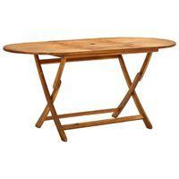 vidaXL tömör akácfa összecsukható kerti asztal 160 x 85 x 75 cm
