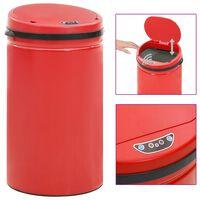 vidaXL piros automata érzékelős szénacél szemeteskuka 50 L