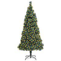 vidaXL zöld PET műkarácsonyfa LED-fényekkel és talppal 210 cm