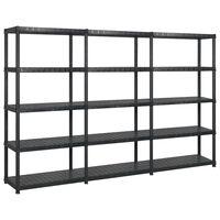 vidaXL fekete műanyag 5 szintes tárolópolc 255 x 40 x 185 cm