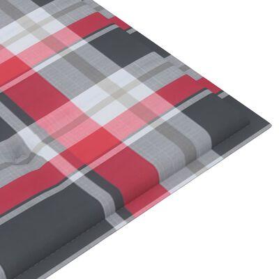 vidaXL tömör tíkfa kerti pad piros kockás párnával 120 cm
