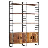 vidaXL 4 szintes tömör újrahasznosított fa könyvespolc 124x30x180 cm